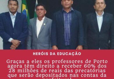 Vereadores da oposição de Porto garantem precatórios a professores